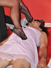 Nylon Jane lets this sissy suck and lick her nylon covered..