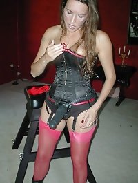 Jane looks great in pink nylons with her strapon
