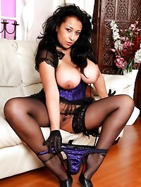 Danica Collins in sexy black lace gloves