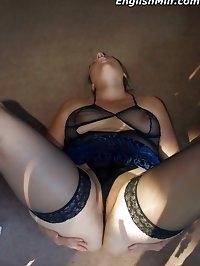 Slutty big ass MILF in stockings spreads at her back door
