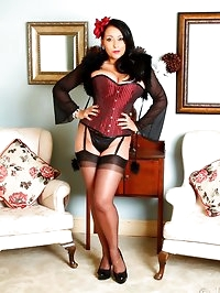 Danica in red pinstripe corset, stockings and heels