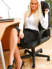 Glorious secretary in pink lingerie and heels.