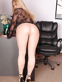 Blonde with pantyhose poses
