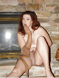 Leggy chick with nylons and black high heels