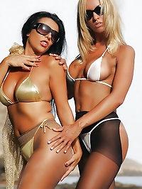 Beach girls wear their pantyhose