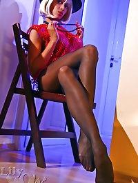 Leggy Milf in sexy black stockings