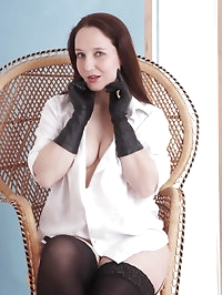 Hot Milf opens her sexy white blouse with her kinky..