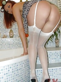getting dressed in white nylons