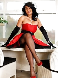 Party girl Danica Collins in stockings and gloves