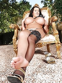 Leanne Crow outdoors in stockings