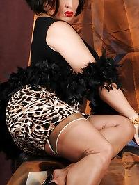 Amanda in tight cheetah dress