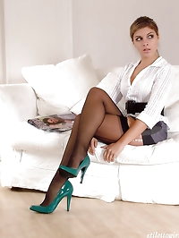 These horny green high heels look stunning on this little..