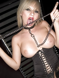 Smoking bitch in black lingerie has big boobs