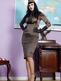 busty uniform fetish general in stockings and satin