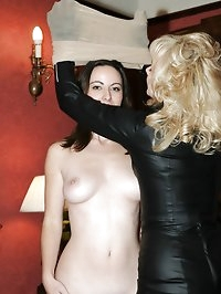 encased brunette toyed by blonde