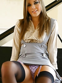 Stunning Loora strips out of her secretary outfit by her..